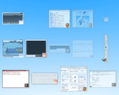 図3 表示しているアプリケーションの一覧選択機能 (マウスポインタを右上に移動かF8
