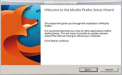 図1 Wineで動作するWindows Firefoxのインストーラ