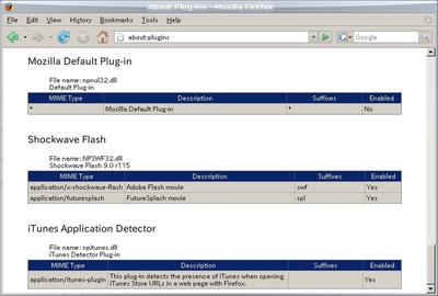図3 Wineで動作するWindows Firefox + Windows Flash9