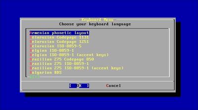 """図2 ユーザ名""""install""""でログインするとインストーラが起動 - キーボードとタイムゾーンを最初に設定する"""