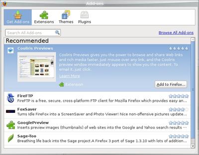 図2 Firefox 3.0からは人気のあるエクステンションがすぐにチェックできる