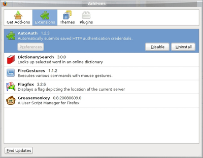 図3 エクステンション例 - AutoAuth,DictionarySearch,FireGestures,Flagfox,Greasemonkey