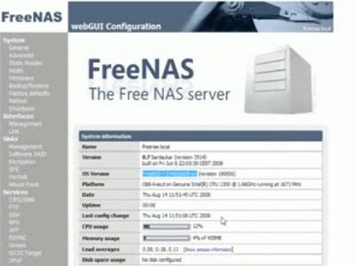 図 Preview of ZFS on FreeNAS 0.7 Server動画より抜粋