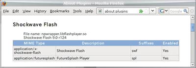 図1 Firefox3のアドレスバーにabout:pluginsと入力してプラグインを確認