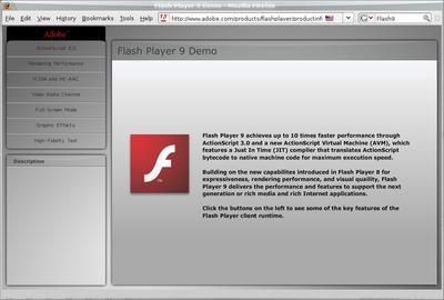 図2 Adobe Systemsの提供しているFlash Player 9のページ