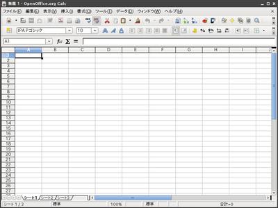 図2 OpenOffice.org 3スプレッドシート動作画面例