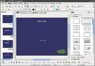 図4 OpenOffice.org 3プレゼンテーション動作画面例