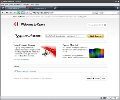 図2 Opera 10で実現されるインラインスペルチェッカ機能