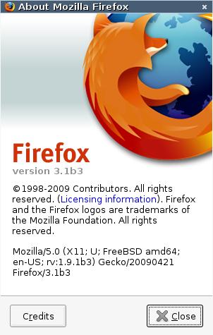図 Firefox 3.1b3 ― Firefox 3.5 Beta3