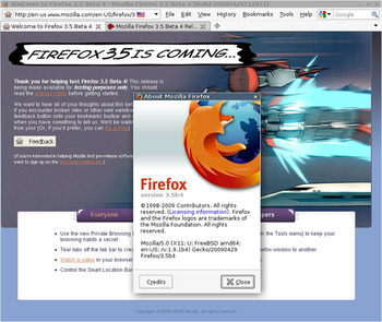 図 Firefox 3.5 Beta 4