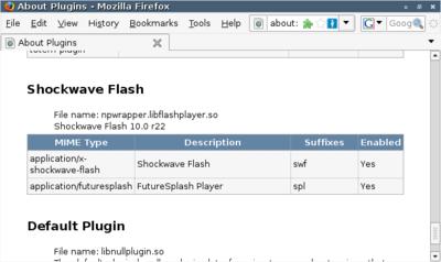 図1 アドレスバーにabout:pluginsと入力してプラグインを確認