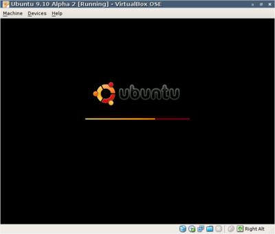 図3 VirtualBox使用例 Ubuntu 9.10 Alpha 2起動例
