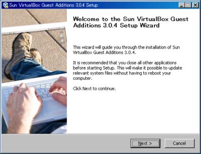 図5 仮想環境のWindows XPでVirtualBox Guest Additionsをインストールしている例