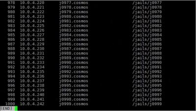 図1 Ivan Voras氏ブログより - FreeBSD Jails 1000動作結果(jails実行例)