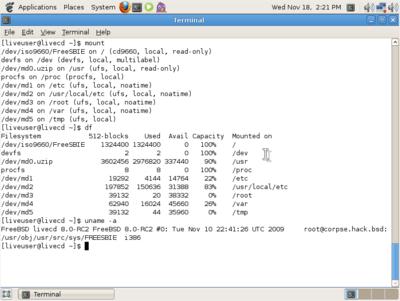 図3 GhostBSD 1.0 Beta動作画面 - FreeBSD 8.0-RC2ベースで構築されたGnome環境であることがわかる