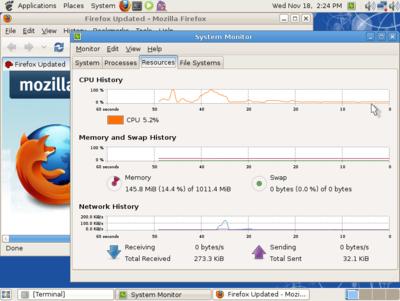 図4 GhostBSD 1.0 Beta動作画面 - プロセスモニタ,Firefox,ターミナルを起動した状態で145MBほどメモリを使っている