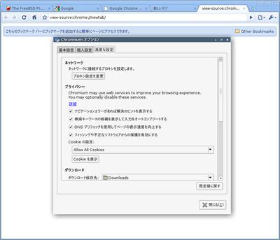 図2 Chromium 4.0.254.0 (0) on FreeBSD 9-CURRENT 実行例