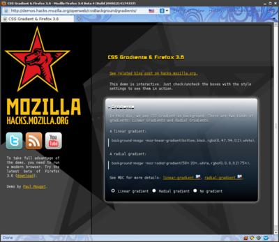 図2 Firefox 3.6で導入されるグラデーションCSSプロパティの活用例。3.5で閲覧するとグラデーションなしのページが表示される