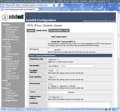 図5 m0n0wall 1.3実行例 - VPNの設定画面