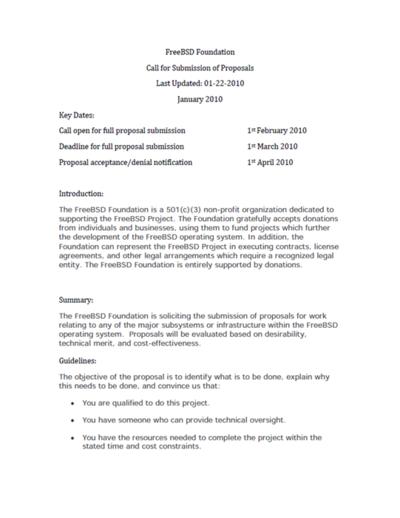 図1 FreeBSD Foundation Call for Submission of Proposals Last Updated: 01(1ページ目)