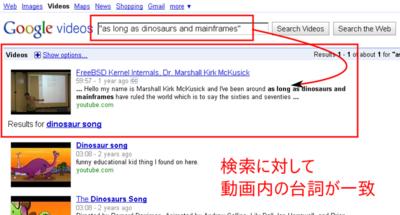 図2 検索結果に動画の台詞も含まれる