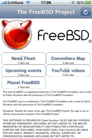 図2 The FreeBSD Project app動作例