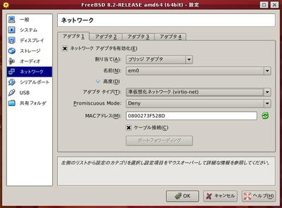 図1 準仮想化ネットワークを使用するように仮想環境を設定 - VirtualBox 4.1.8