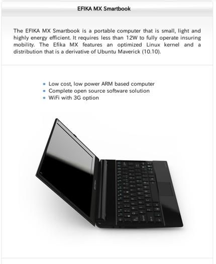 図1 EFIKA MX Smartbook(製品サイトより抜粋)