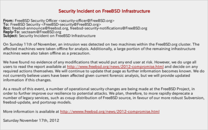 図1 Security Incident on FreeBSD Infrastructure