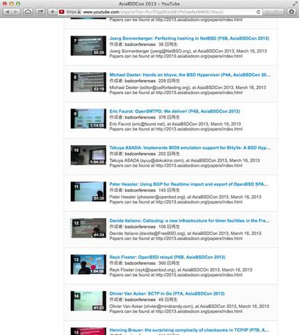AsiaBSDCon 2013ビデオページ