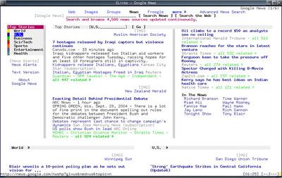 図2 Google Newsを表示した例。HTMLのフレームにもちゃんと対応している。