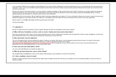 9/15朝現在,LinuxFoundation.orgにアクセスすると,メンテナンス中のメッセージが表示される