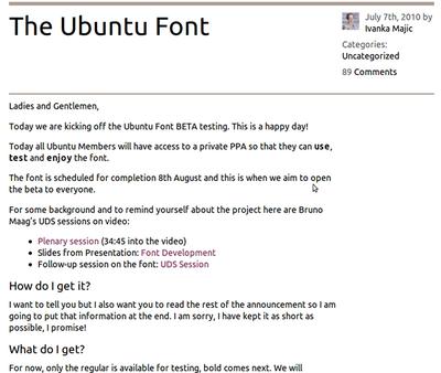 図1 Ubuntu Font(ベータ版)を用いて画面表示した例