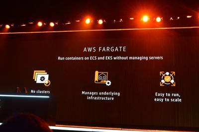 EKSと同時に発表された「AWS Fargate」はコンテナクラスタを構築することなくワンクリックでコンテナを実行できるサービス。Kuberenetes対応は2018年中に行われる予定