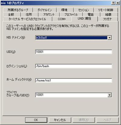 図2 UNIX属性(Windows Server 2008 R2)