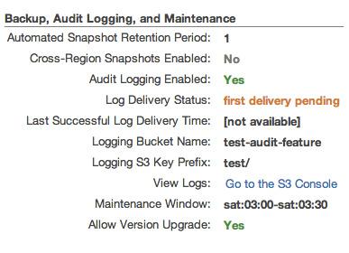 図3 監査ログ機能有効化後のクラスタの詳細