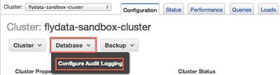 図1 AWSコンソールのRedshiftクラスタ名から「Configure Audit Logging」を選択
