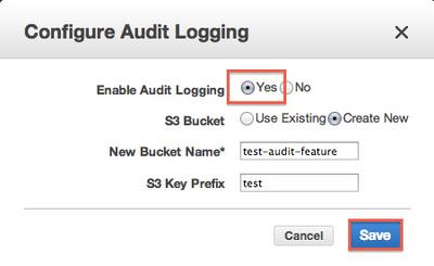 図2 「Enable Audit Logging」をチェックして「Save」で保存,監査ログ機能を有効に