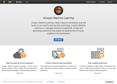 図1 Amazon Machine Learningの開始画面