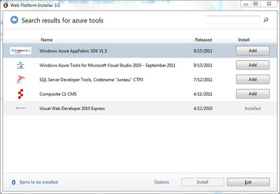 図6 「azure tools」で検索した結果。「Windows Azure Tools for Microsoft Visual Studio 2010」を追加します