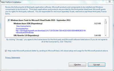図7 インストールされる内容の確認。「Windows Azure SDK(Dependency)」が見える