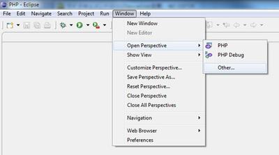 図1 「Windows」メニューから「Open Perspective」-「Other」を選択