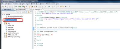 図8 コードを編集後「Sample1_WebRole1」を選択