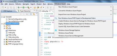 図9 メニューから「Run Windows Azure PHP Project in Development Fabric」を選択