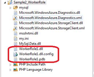 図2 WokerRole1.dllにファイル名を変更する