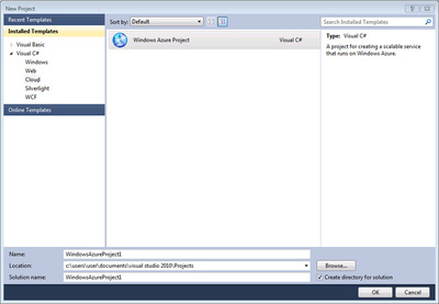 図1 Visual Web Developer 2010 Expressで,Windows Azure Projectを作成