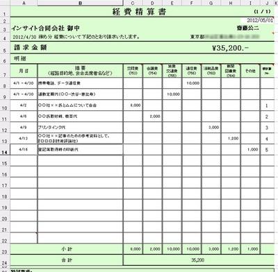 図2 経費精算書のExcel画面