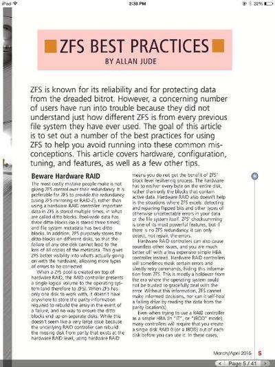 図2 ZFS BEST PRACTICES on FreeBSD Journal March/April 2015