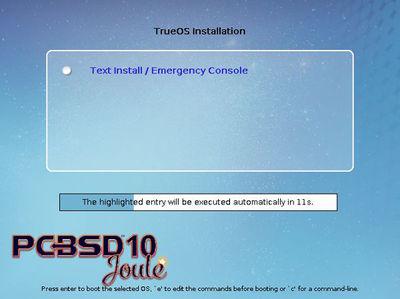 図1 TrueOS 11.0-CURRENTインストーラ