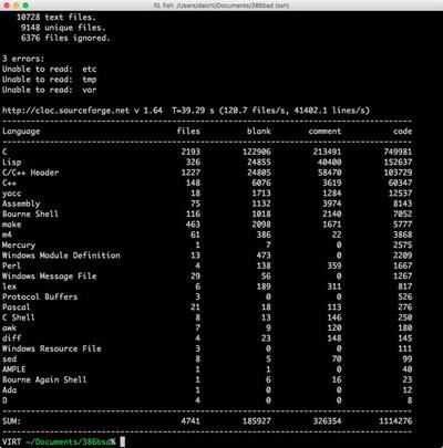 図 386BSD 2.0の内容物 cloc分析